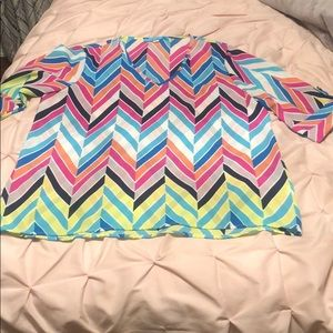 Chevron multi-colored rolled sleeve v-neck blouse